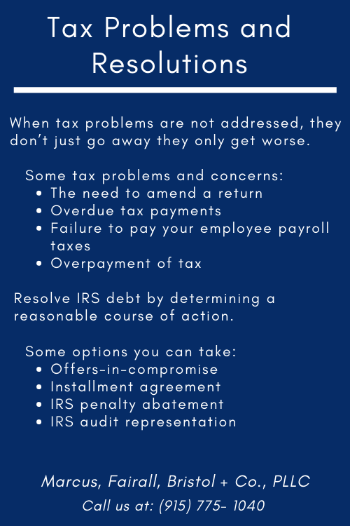 TAX PROBLEMS AND RESOLUTIONS